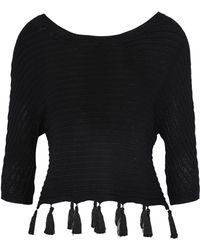 L'Agence - Tasseled Ribbed-knit Top - Lyst