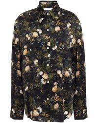 Vince Floral-print Silk-satin Shirt - Black
