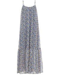 Samsøe & Samsøe Samsøe Φ Samsøe Gathered Floral-print Crepe Maxi Slip Dress - Blue