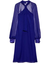 Lanvin Satin-trimmed Knotted Chiffon Dress Royal Blue