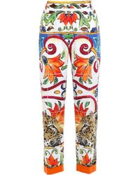 Dolce & Gabbana Cotton-poplin Tapered Trousers Multicolour