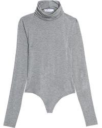 Bailey 44 - Woman Stretch-jersey Turtleneck Bodysuit Gray - Lyst