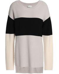 Amanda Wakeley Color-block Merino Wool Sweater Light Gray