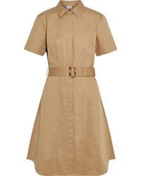 Iris & Ink Barbara Belted Cotton-twill Dress - Natural