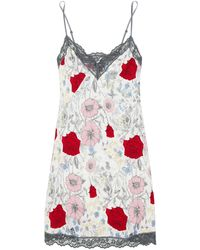Cosabella Lace-trimmed Floral-print Twill Chemise - Multicolor