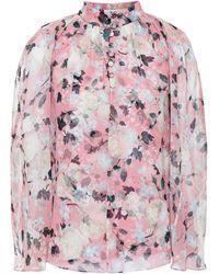 Erdem Carvella Cape-effect Floral-print Silk-chiffon Top - Pink