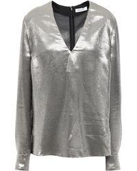 Mugler - Silk-blend Twill Blouse Silver - Lyst