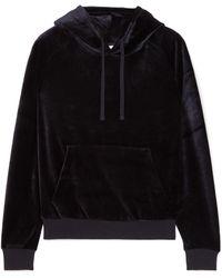 Vetements Crystal-embellished Velour Hooded Top Black