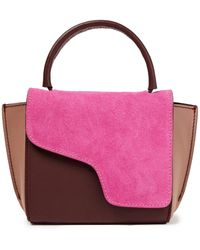 Atp Atelier Montalcino Color-block Suede And Leather Tote Bright Pink - Multicolour