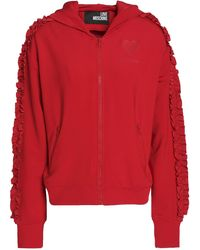 Love Moschino Ruffle-trimmed Stretch-jersey Hooded Jacket Red