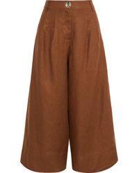 Nicholas - Varca Pleated Linen Culottes Brown - Lyst