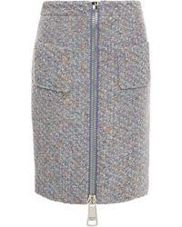Moschino Zip-detailed Wool-blend Bouclé-tweed Pencil Skirt - Grey