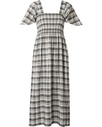 The Great The Gimlet Shirred Checked Cotton And Linen-blend Midi Dress Black