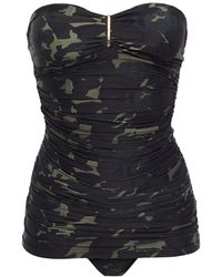 Melissa Odabash - Mauritiu Ruched Printed Bandeau Swimsuit Army Green - Lyst