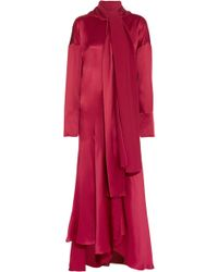 ROKSANDA - Alida Pussy-bow Crinkled Silk-satin Maxi Dress - Lyst