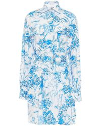 MSGM Belted Printed Cotton-poplin Mini Shirt Dress - White
