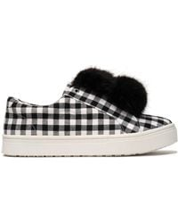 Sam Edelman - Faux Fur-trimmed Gingham Canvas Slip-on Sneakers - Lyst