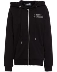 Love Moschino Crystal-embellished French Cotton-blend Terry Hoodie - Black