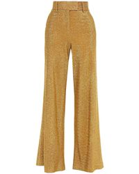 Sara Battaglia Lurex Wide-leg Trousers Gold - Metallic