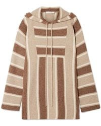The Row Lina Oversized Striped Cashmere And Silk-blend Hoodie Light Brown