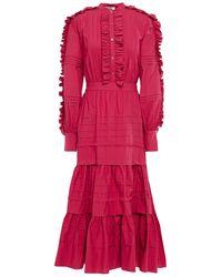 Temperley London Jade Tiered Ruffle-trimmed Cotton-poplin Midi Dress Crimson