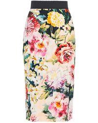 Dolce & Gabbana Floral-print Crepe Skirt Peach - Multicolour
