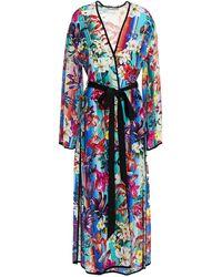 Mary Katrantzou Cote D'azur Floral-print Silk Crepe De Chine Kimono - Blue
