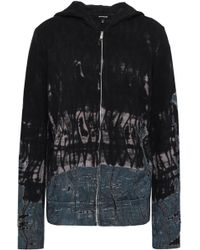Monrow - Woman Tie-dyed French Terry Hooded Jacket Black - Lyst