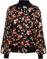 A.L.C. - Woman Floral-print Stretch-silk Bomber Jacket Black - Lyst