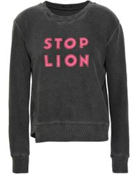 Mother - Woman Appliquéd French Cotton-terry Sweatshirt Dark Gray - Lyst