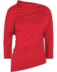 161b74763e6896 Vivienne Westwood Anglomania - Woman Draped Stretch-jersey Top Red - Lyst