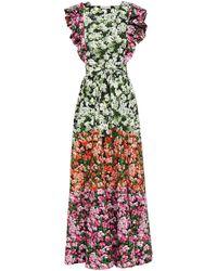 Mary Katrantzou Noor Ruffled Floral-print Stretch-cotton Poplin Maxi Dress - Green
