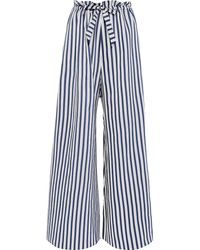 Paper London Gathered Striped Twill Wide-leg Trousers - Blue