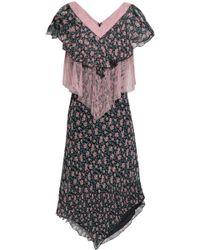 Anna Sui Chantilly Lace-paneled Floral-print Silk-gauze Dress Black