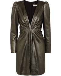 Saint Laurent Twisted Silk-blend Lamé Mini Dress - Metallic