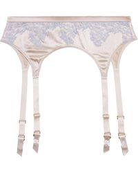 Myla - Grosvenor Square Lace-trimmed Stretch-silk Satin Suspender Belt - Lyst