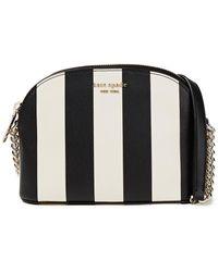 Kate Spade Spencer Small Striped Faux Leather Shoulder Bag - Black