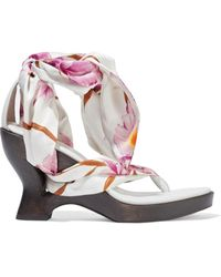 Zimmermann Floral-print Satin-twill And Leather Wedge Sandals White