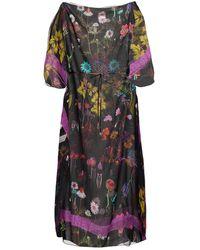 Stella McCartney Trippy Kaftan Aus Seiden-georgette Mit Floralem Print - Schwarz