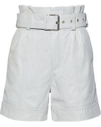 Walter Baker Velda Belted Gathered Leather Shorts - White