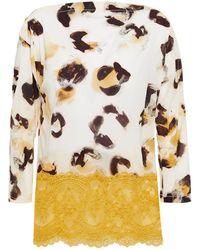 Wacoal Bedrucktes Pyjama-oberteil Aus Crêpe De Chine Mit Stretch-anteil Und Spitzeneinsätzen Größe L - Natural