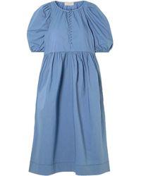 The Great The Ravine Cotton Midi Dress - Blue
