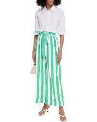 Mara Hoffman Sasha Belted Striped Organic Cotton-broadcloth Wide-leg Trousers - Green