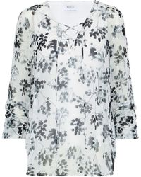 Bailey 44 - Cherry Blossom Lace-up Floral-print Chiffon Blouse - Lyst