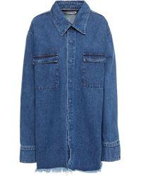 Marques'Almeida Frayed Denim Jacket Mid Denim - Blue