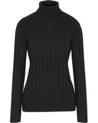 MILLY - Ribbed Cashmere Turtleneck Sweater - Lyst