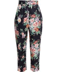 Zimmermann Bellitude Tuck Cropped Floral-print Linen Tapered Pants Midnight Blue