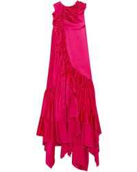Koche Koché asymmetric ruffled satin dress - Rot