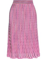 M Missoni Pleated Crochet-knit Cotton-blend Midi Skirt - Pink