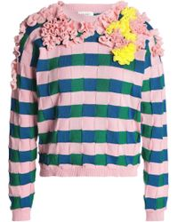 Delpozo - Woman Ruffled Cotton-jacquard Sweater Baby Pink - Lyst